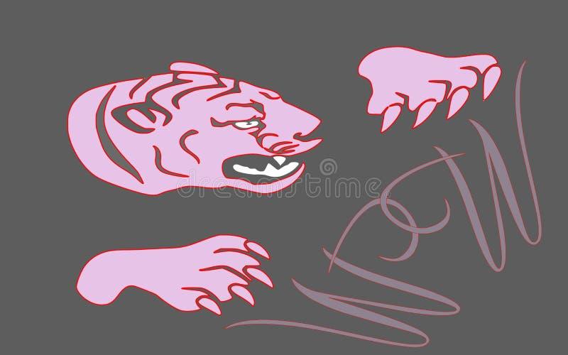 En tiger och två W arkivfoton