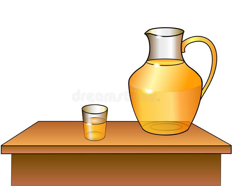 En tillbringare och ett exponeringsglas av fruktsaft är på tabellen royaltyfri illustrationer