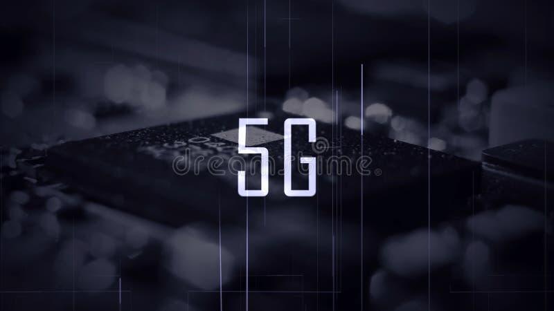 En titel 5G med en mikrochipsbakgrund och en blå färgkvalitet arkivbilder