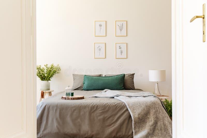 En titt till och med en öppen dörr in i en naturlig solig sovruminre med grå färger och gräsplan täcker och kuddar på en dubbelsä fotografering för bildbyråer