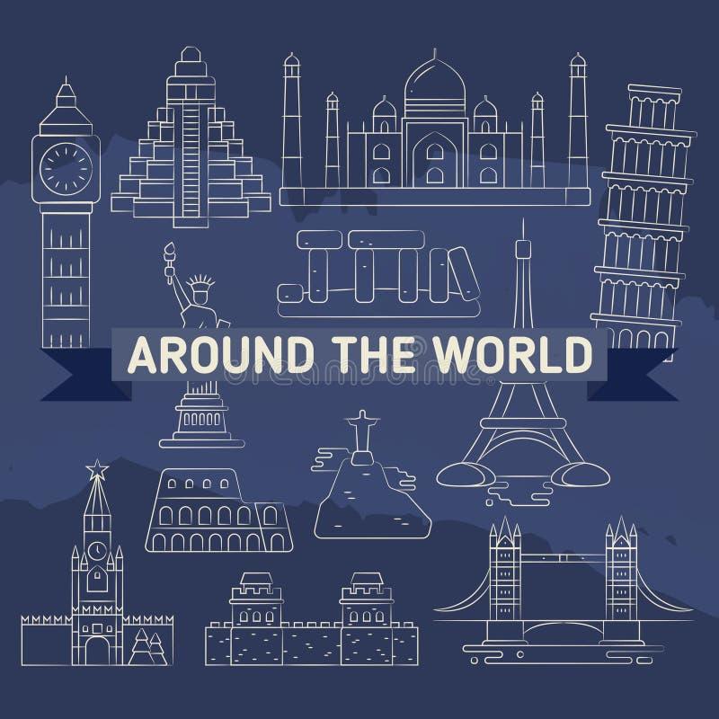 En todo el mundo iconos lineares - señales famosas ilustración del vector