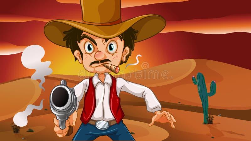 En tokig cowboy med ett vapen stock illustrationer