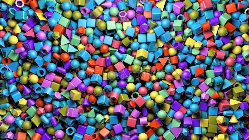 En tolkning för abstrakt begrepp 3d av bakgrund med colourfully kuben, sfär, cylinder, kapsel, pyram royaltyfri foto