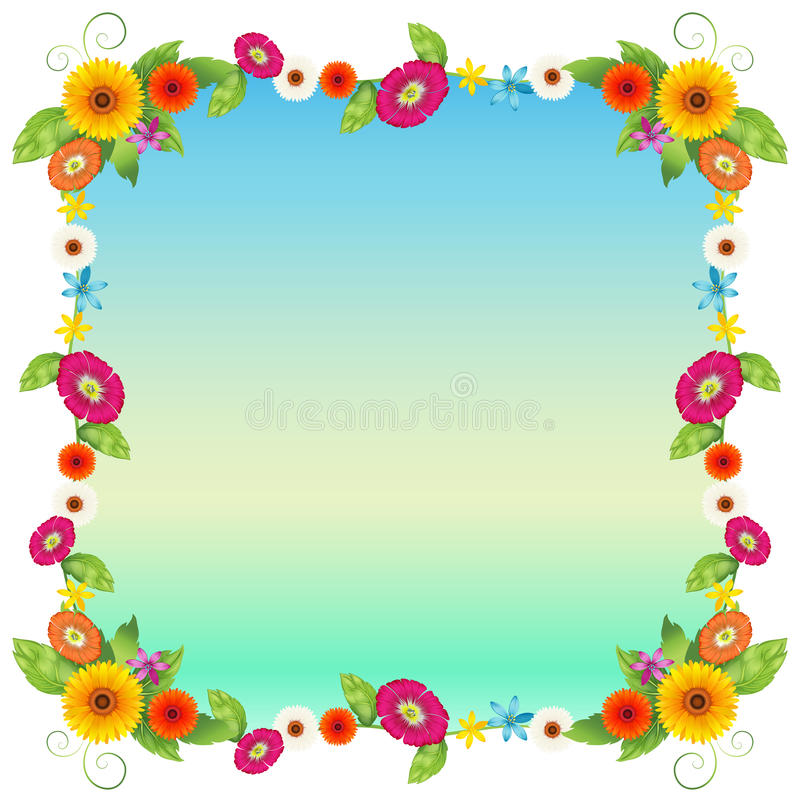 En tom blå mall med färgglade blommor vektor illustrationer