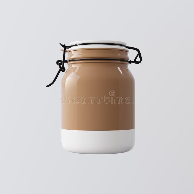 En tom brun Glass krus stängde det vita keramiska locket isolerad bakgrund Ren glas- klar behållareetikettmodell royaltyfri illustrationer
