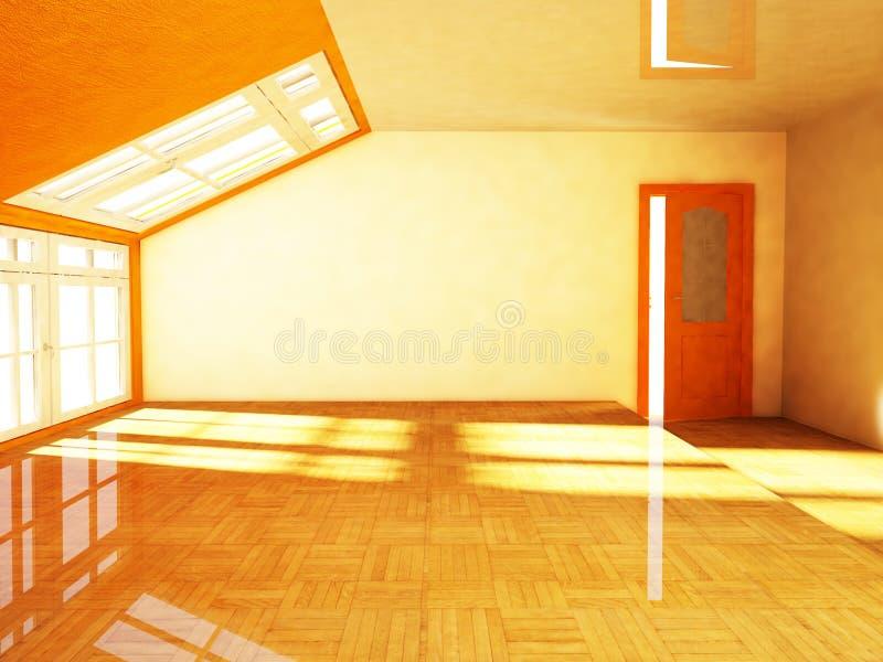 En tom loft med fönstret royaltyfri illustrationer