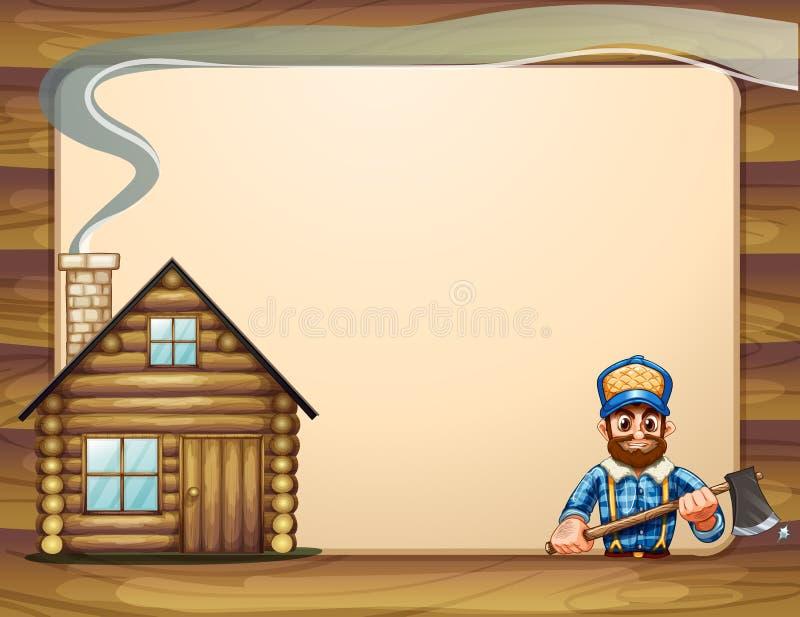 En tom mall med ett trähus och en skogsarbetare med ett a stock illustrationer