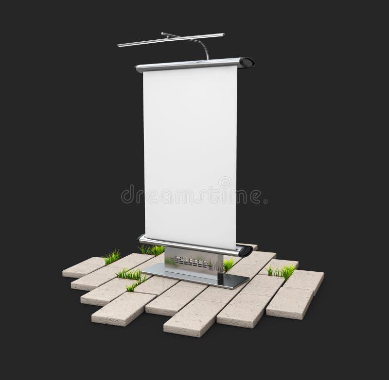 En tom panel för utomhus- advertizing på kullersten som isoleras på svart, illustration 3d stock illustrationer