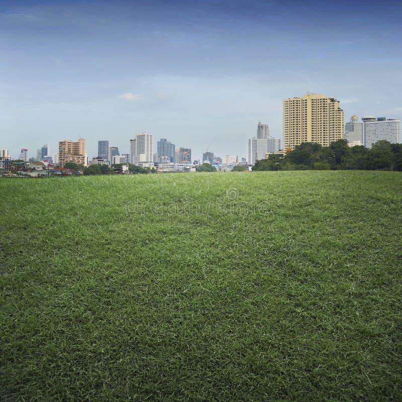En tom plats av fältet för grönt gräs och kontorsbyggnadstaden royaltyfri foto