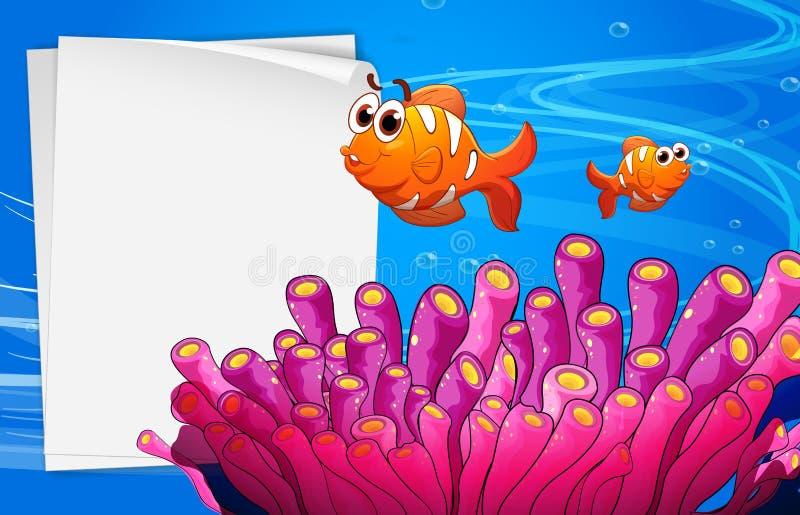 En tom signage under havet stock illustrationer