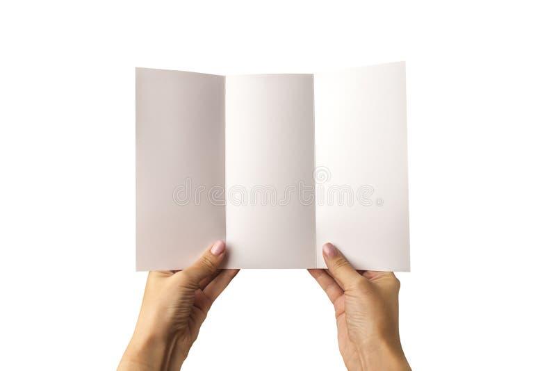 En tom tre-veck broschyr i hand På en vit bakgrund En modell för att identifiera märket för formgivare royaltyfri fotografi