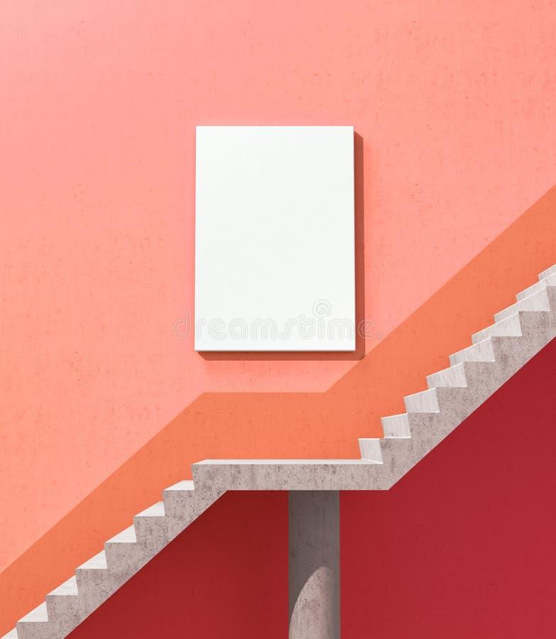En tom vit kanfas väger på väggen nära momenten som leder till framgång 3d vektor illustrationer