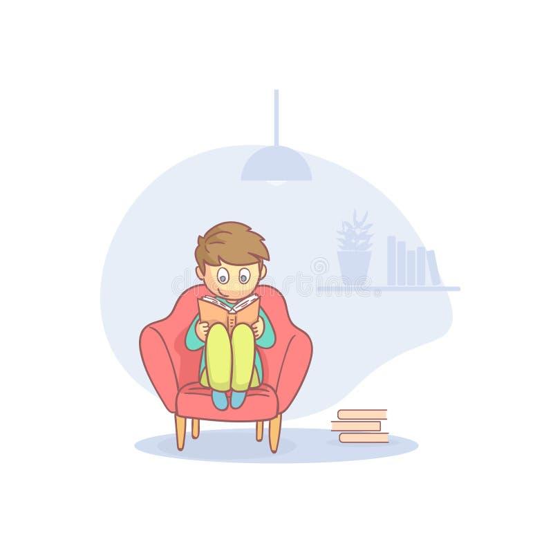 En tonårspojke som sitter bekvämt i armstol och läser bokkartoon Vector Illustration royaltyfri illustrationer