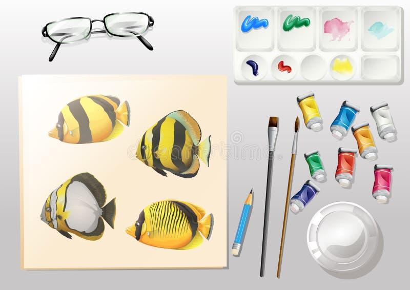 En topview av en målning och de olika målningmaterialen stock illustrationer