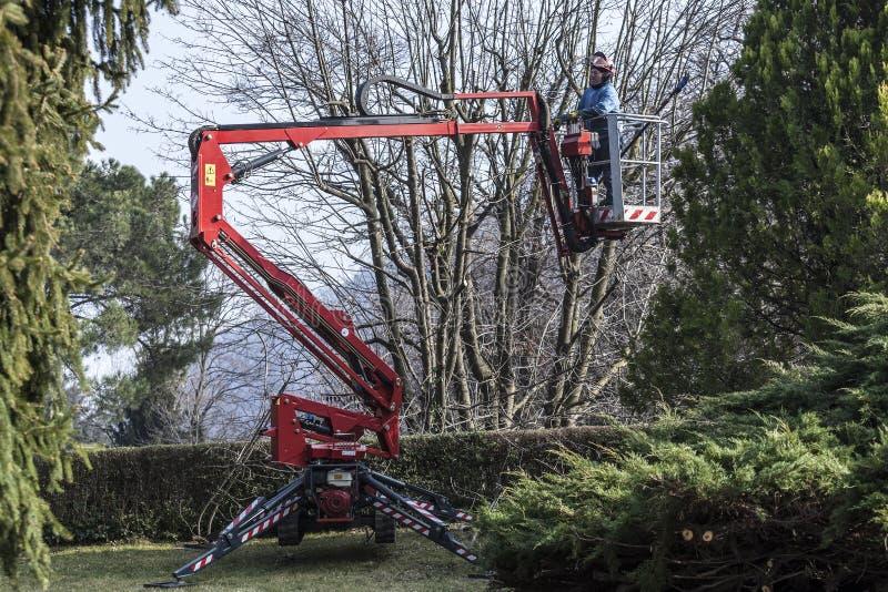 En trädgårdsmästare flyttar sig vid hans spårade korg arkivfoton