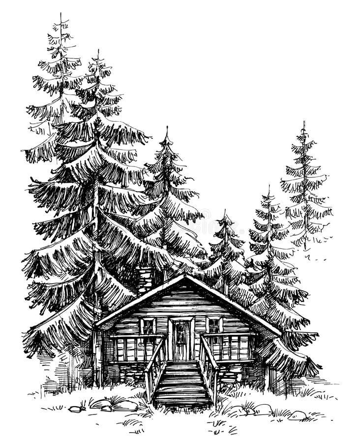 En träkabin i pinjeskogen vektor illustrationer