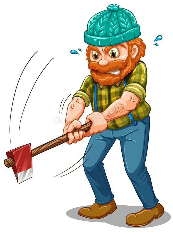 En trött skogsarbetare med en yxa royaltyfri illustrationer