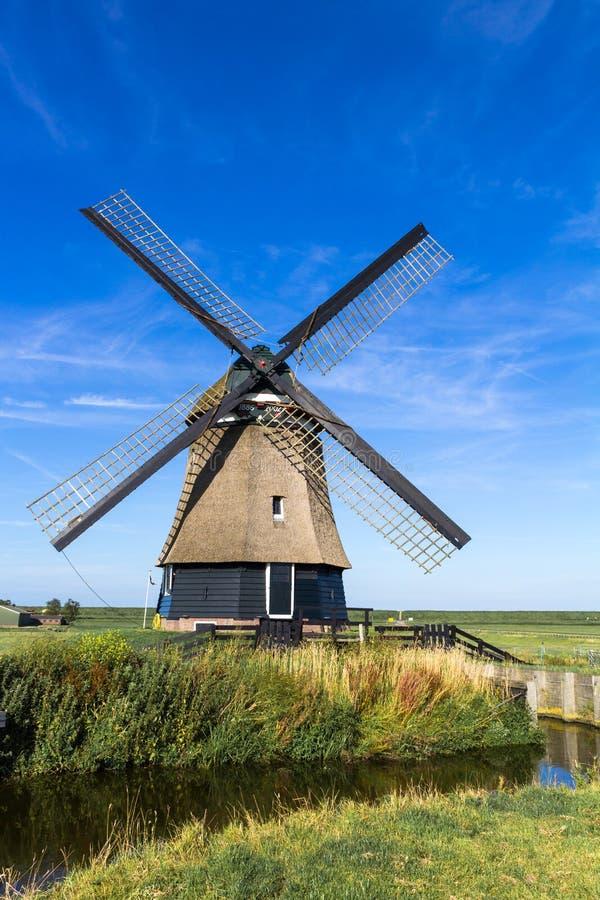 En traditionell holländsk väderkvarn nära Hoorn, Nederländerna royaltyfri fotografi