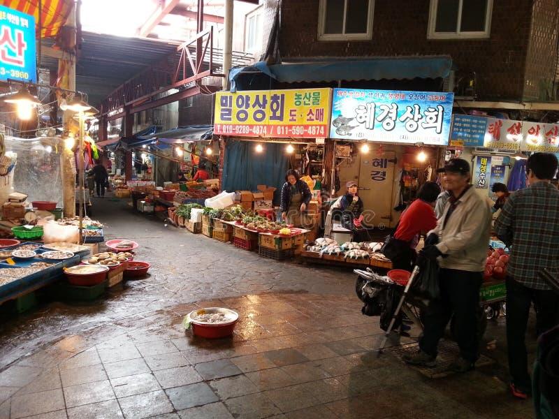 En traditionell marknad i Busan royaltyfri fotografi