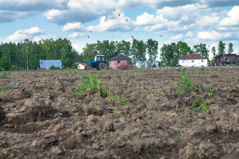 En traktor plogar fältet på en ljus solig dag Lantlig fjäderliggande royaltyfria bilder