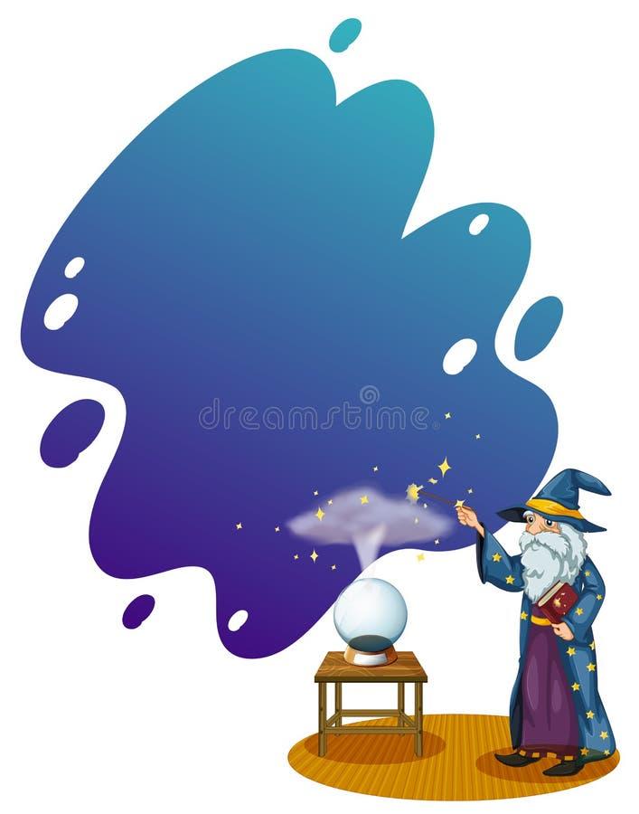 En trollkarl med en bok som är främst av en kristallkula stock illustrationer