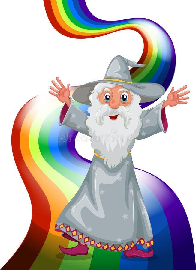En trollkarl nära regnbågen royaltyfri illustrationer
