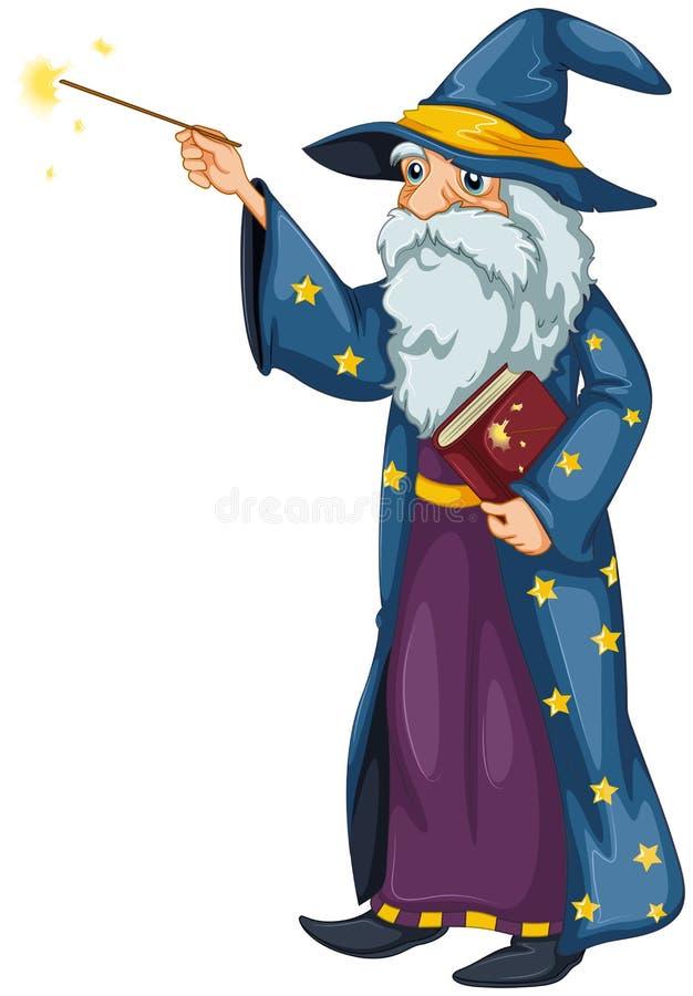 En trollkarl som rymmer en trollspö och en bok vektor illustrationer
