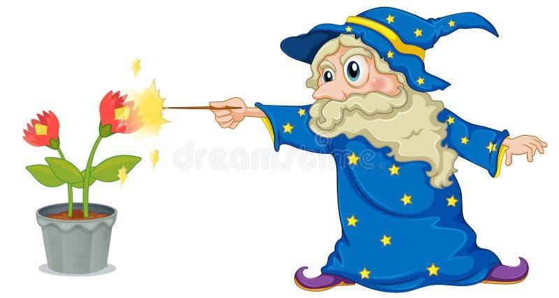 En trollkarl som rymmer en trollstav som pekar på blommorna stock illustrationer