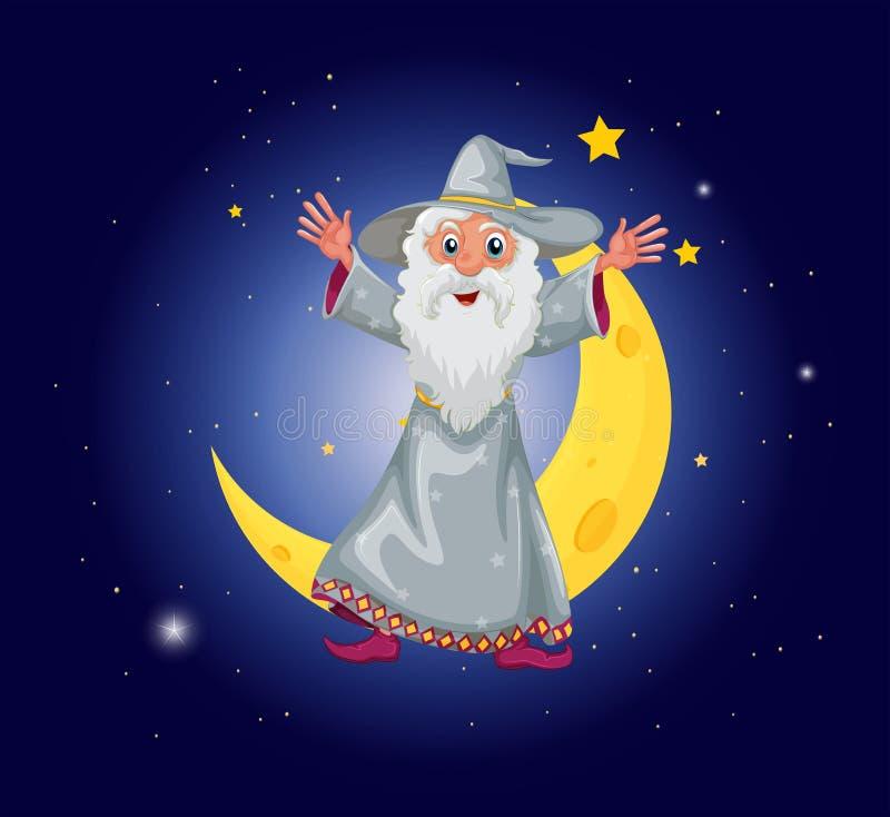 En trollkarl som svävar nära månen stock illustrationer