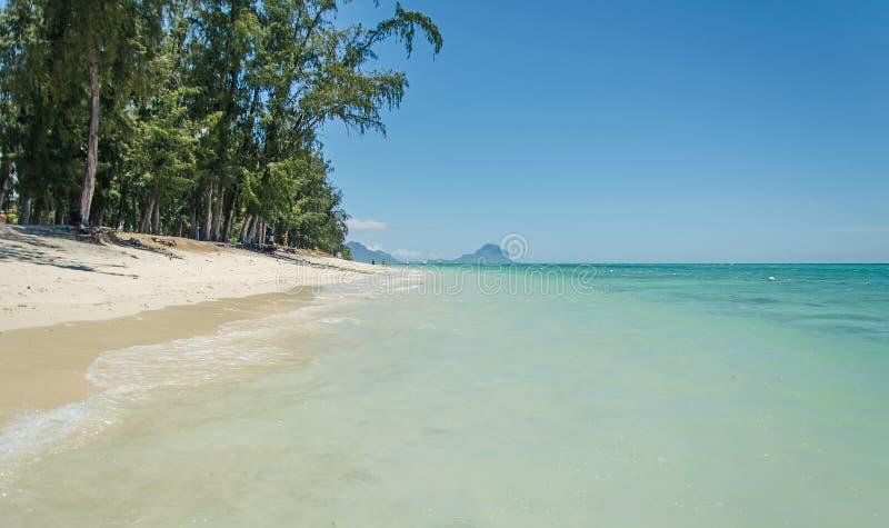 En tropisk solig strand, Mauritius arkivbild