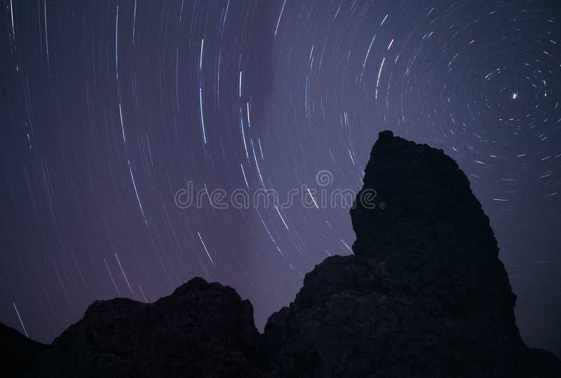 En tufakontur på natten som är bakbelyst av stjärnaslingor som cirklar Polstjärnan royaltyfri fotografi