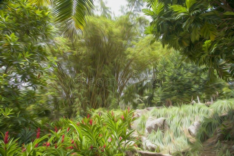 En tumult av oskarp borsteolja för grönska royaltyfri fotografi