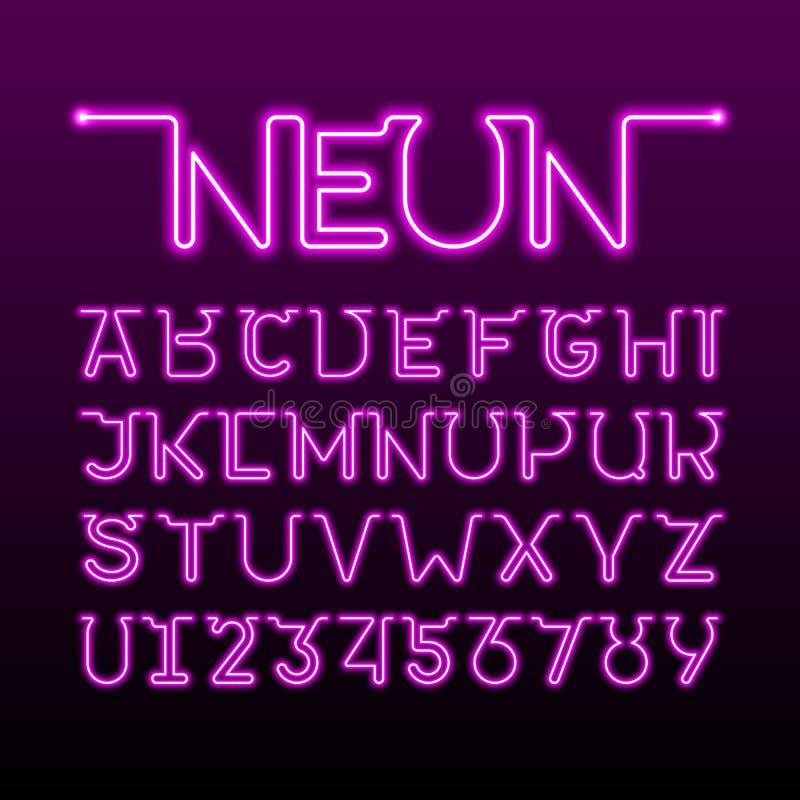 En tunn enkel fortlöpande linje stilsort för neonrör vektor illustrationer