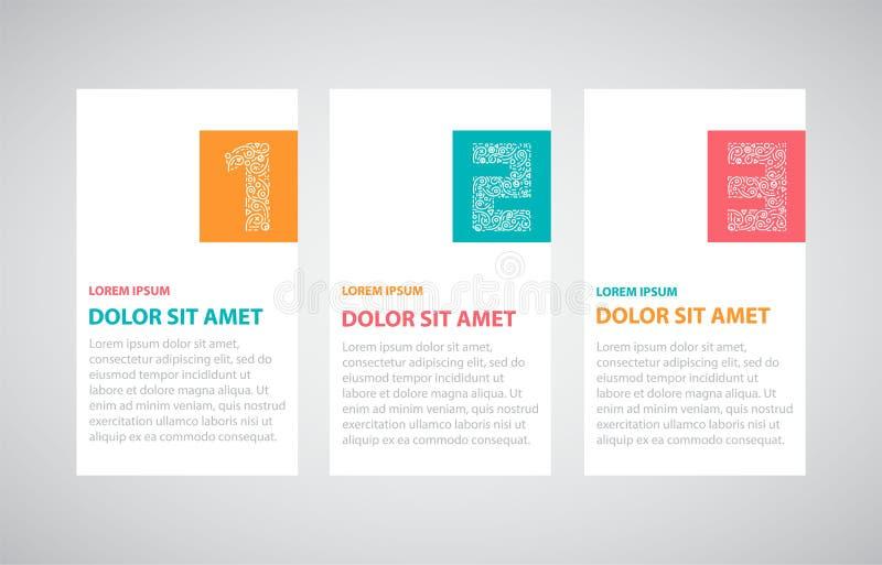 En två tre - infographic moment stock illustrationer