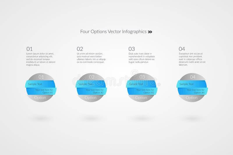 En två tre vektorinfographics för fyra alternativ symboler för 1 2 3 4 prövkopiatextframsteg Marknadsföra cirkelramsymboler royaltyfri illustrationer