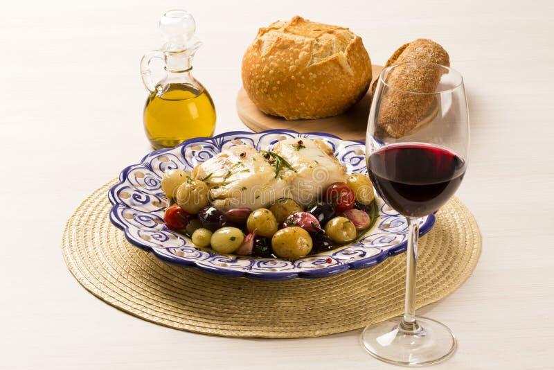 En typisk portugisisk maträtt med codfish kallade Bacalhau gör Porto fotografering för bildbyråer