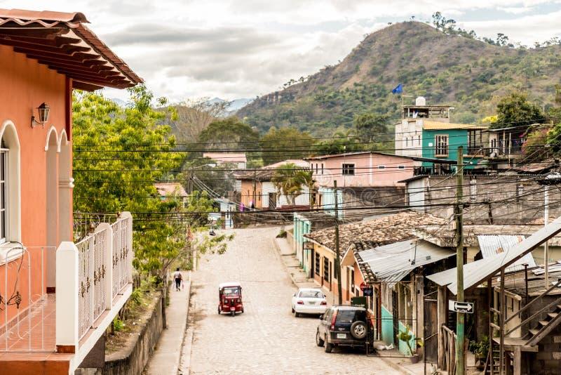 En typisk sikt i den Copan staden i Honduras arkivbild