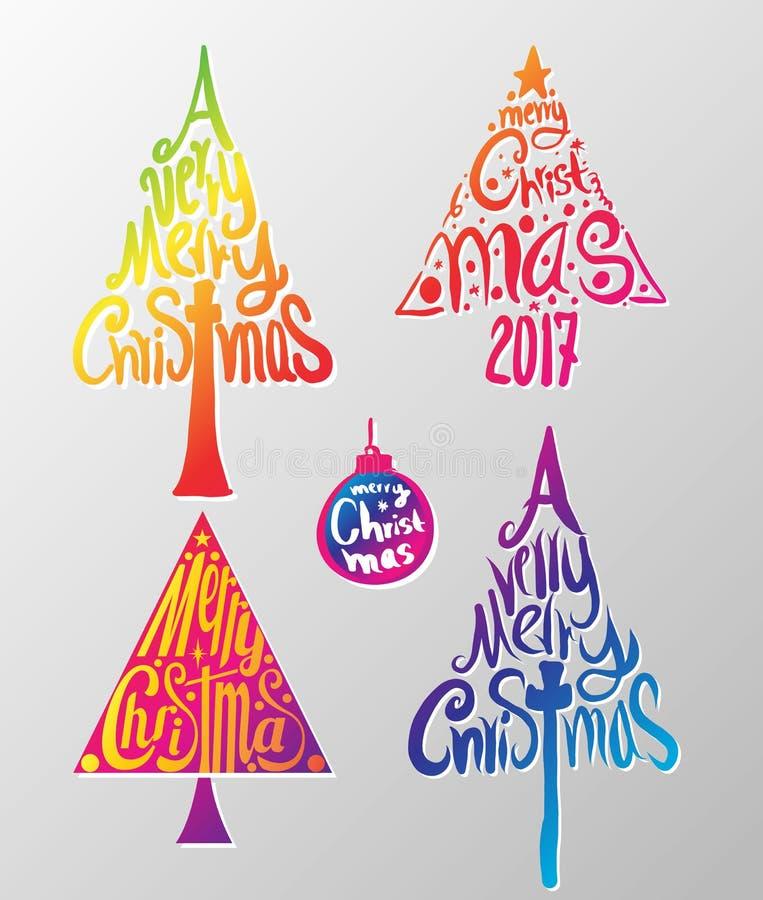 En typografisk gran för mycket glad jul formade etiketten royaltyfri illustrationer