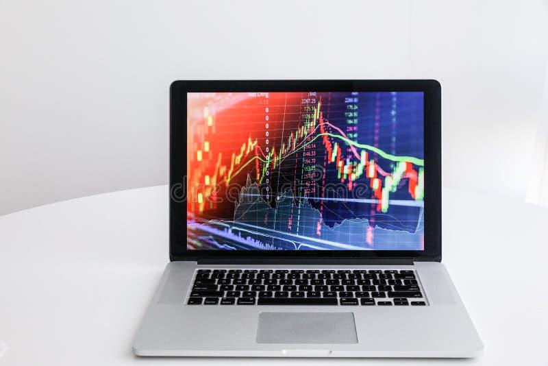 En un ordenador portátil blanco de la tabla con un gráfico del índice del crecimiento fotos de archivo