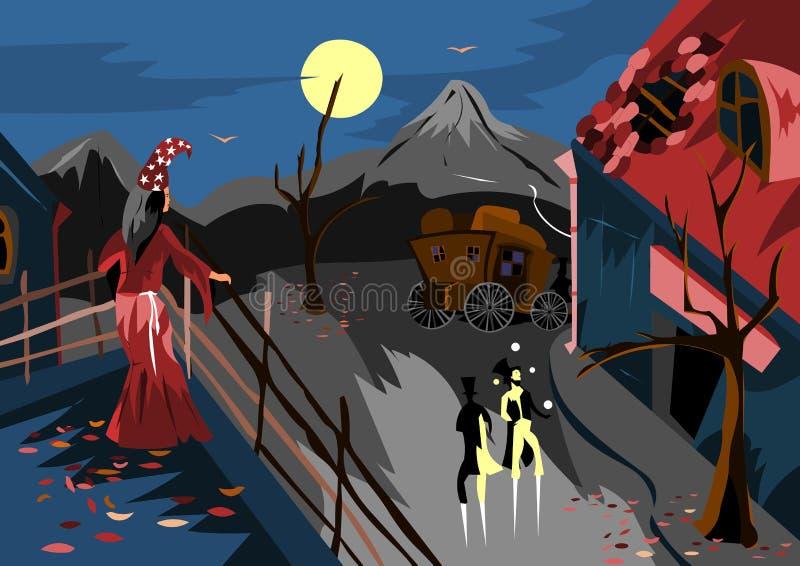 En un pequeño pueblo es un carnaval, y la encantadora está mirando del tejado de la casa ilustración del vector