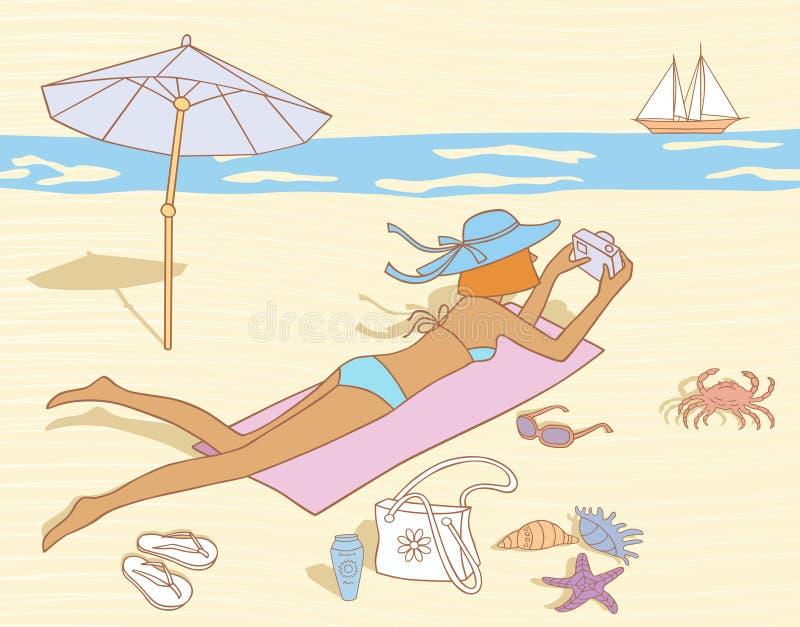 En una playa stock de ilustración