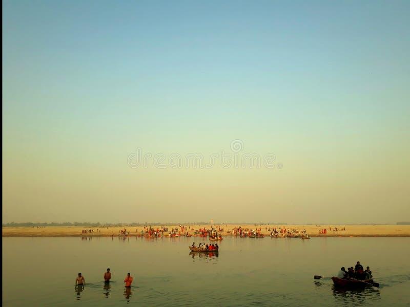 En underbar sikt av den heliga Gangesen arkivbilder
