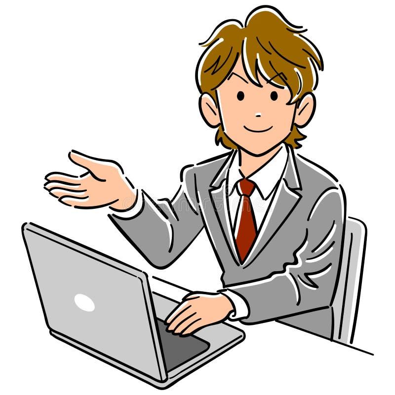En ung affärsman fungerande handböcker för en persondator royaltyfri illustrationer