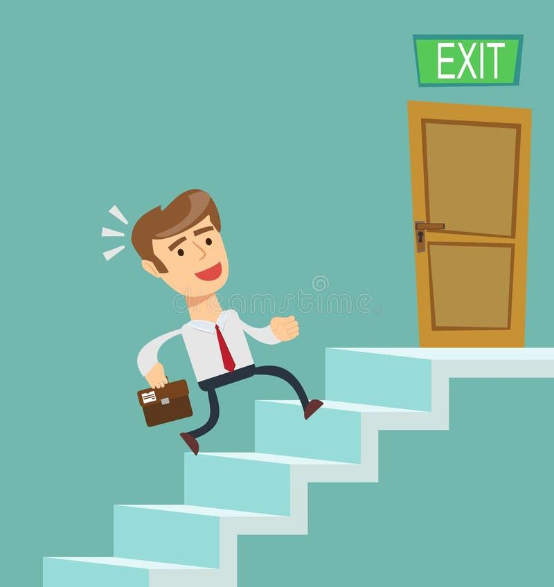 En ung affärsman som uppför trappan stadigt går royaltyfri illustrationer