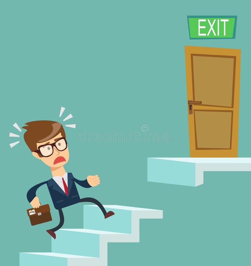 En ung affärsman som uppför trappan stadigt går Begrepp av karriärtillväxt royaltyfri illustrationer