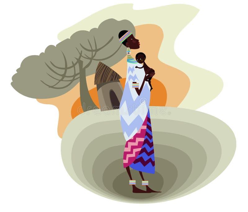 En ung afrikansk moder royaltyfri illustrationer