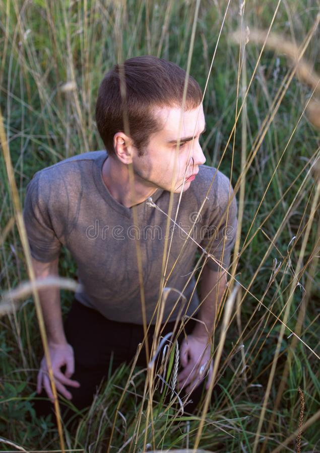 En ung attraktiv man som sitter i gräset av fältet på solnedgång fotografering för bildbyråer