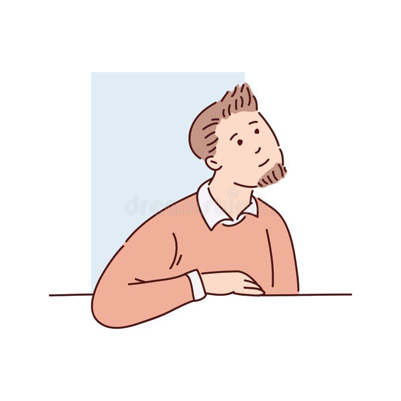 En ung brun haired man i blickar för en tröja och skjortaut ur fönstret bakifrån vektor illustrationer