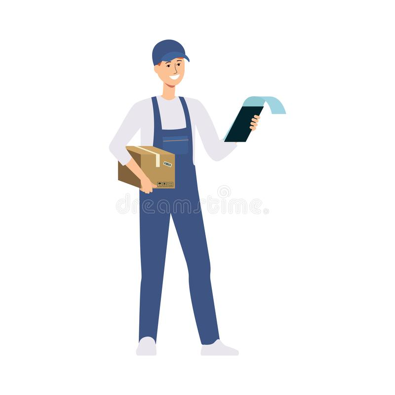 En ung caucasian manlig leveransman levererade en ask och står med en notepad och leenden vektor illustrationer