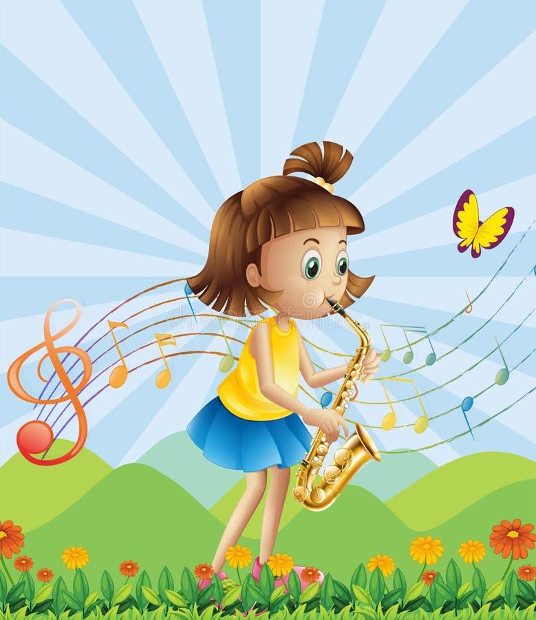 En ung dam på bergstoppet som spelar med hennes saxofon stock illustrationer
